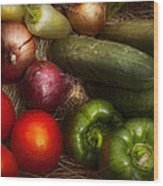 Food - Vegetables - Onions Tomatoes Peppers And Cucumbers Wood Print