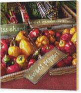 Food - Vegetables - Sweet Peppers For Sale Wood Print