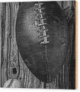 Football And Baseball Wood Print