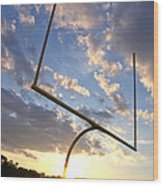 Football Goal At Sunset Wood Print