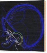 Football Helmet Blue Fractal Art Wood Print