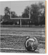 Football In Black And White Wood Print