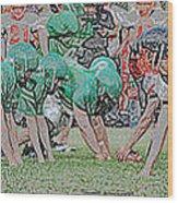Football Playing Hard 3 Panel Composite Digital Art 01 Wood Print