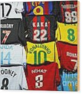 Football Shirts Inside The Grand Bazaar In Istanbul Turkey Wood Print