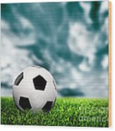 Football Soccer A Leather Ball On Grass Wood Print