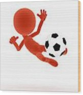 Football Soccer Shooting Jumping Pose Wood Print