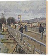 Footbridge At Argenteuil Wood Print