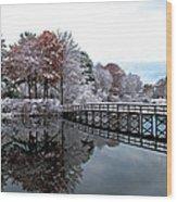 Footbridge At Dawn Wood Print