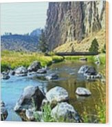 Footbridge At Smith Rock Wood Print