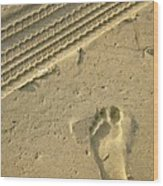 Footprint In The Sand Wood Print