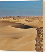 Footprints And 4x4 Offroad Car In Landscape Of Endless Dunes In Sand Desert  Wood Print
