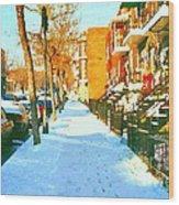 Footprints In The Snow Montreal Winter Street Scene Paintings Verdun Christmas  Memories  Wood Print