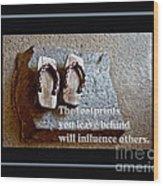 Footprints Left Behind Wood Print