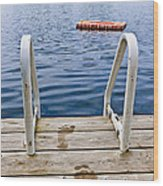 Footprints On Dock At Summer Lake Wood Print