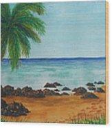 Footprints On Los Pinones Beach Pr Wood Print