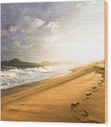 Footsteps In The Sand Wood Print