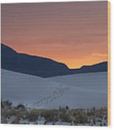 Footsteps In White Sands Leading To Sunset Wood Print