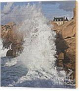Force Of Breaking Waves Wood Print