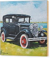 Ford A Tudor Sedan Wood Print