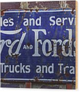 Ford And Fordson Sign Wood Print