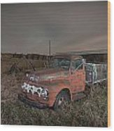 Abandoned Ford Farm Truck And Northern Lights Wood Print