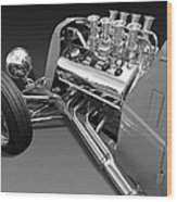 Ford Coupe Hot Rod Engine In Black And White Wood Print