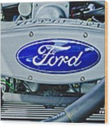 Ford Engine Emblem Wood Print