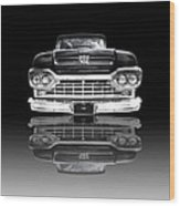 Ford F100 Truck Reflection On Black Wood Print