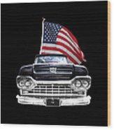 Ford F100 With U.s.flag On Black Wood Print