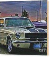 Ford Mustang At Sunset Wood Print