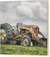 Ford Powermaster Tractor On A Hill Wood Print by Gary Heller