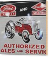 Ford Tractor Sign Wood Print