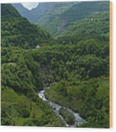Moraca River And Mountains Wood Print