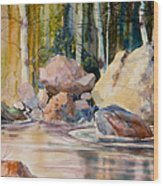Forest And River Wood Print