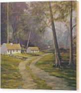 Forest Cottages Wood Print
