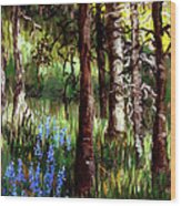 Forest Evening Glow Wood Print