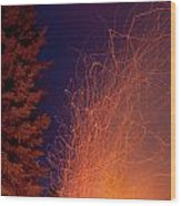 Forest Fire Danger Hot Spark Trails From Campfire Wood Print