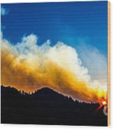 Forest Fire Sunset Wood Print