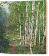 Russian Forest Footpath Wood Print
