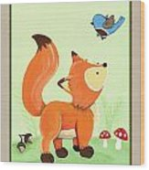 Forest Friends - Fox Wood Print