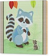 Forest Friends - Raccoon  Wood Print