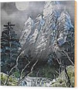 Forest Moon Wood Print