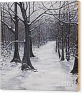 Forest Path In Winter Wood Print