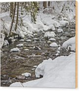 Winter Forest River Wood Print