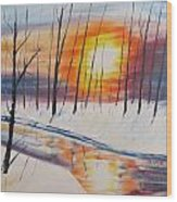Forest Sunset Wood Print