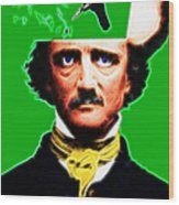 Forevermore - Edgar Allan Poe - Green - With Text Wood Print