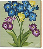 Forget Me Nots And Butterflies Wood Print
