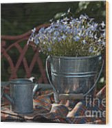 Forget-me-nots And Small Watering Can  Wood Print
