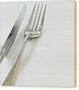 Fork And Knife Wood Print