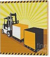 Forklift Truck Materials Handling Retro Wood Print